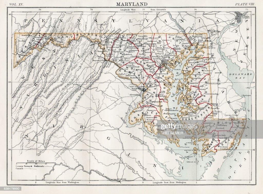 Map of Maryland 1883 : stock illustration