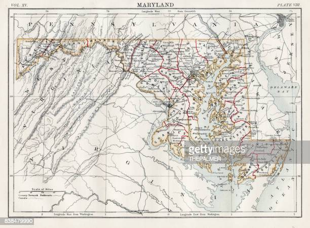map of maryland 1883 - maryland stock illustrations, clip art, cartoons, & icons