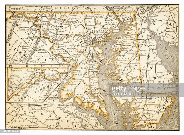 stockillustraties, clipart, cartoons en iconen met kaart van maryland 1893 - maryland staat