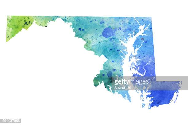 map of maryland with watercolor texture - raster illustration - chesapeake bay stock illustrations