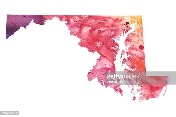 ilustraciones, imágenes clip art, dibujos animados e iconos de stock de map of maryland with watercolor texture - raster illustration - maryland us state