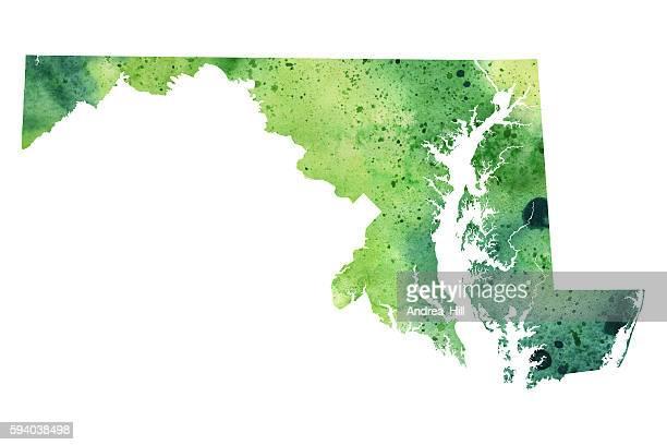 illustrazioni stock, clip art, cartoni animati e icone di tendenza di mappa del maryland con texture acquerello - raster illustration - maryland stato