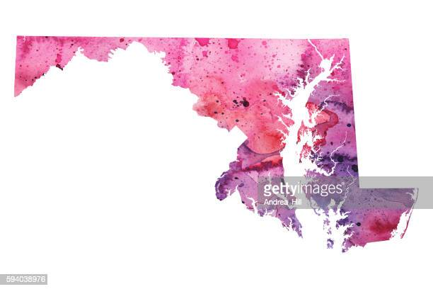 map of maryland with watercolor texture - raster illustration - chesapeake bay stock illustrations, clip art, cartoons, & icons