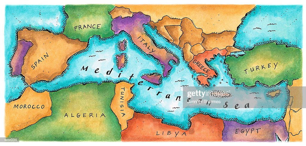 Map of Mediterranean Sea : Stockillustraties