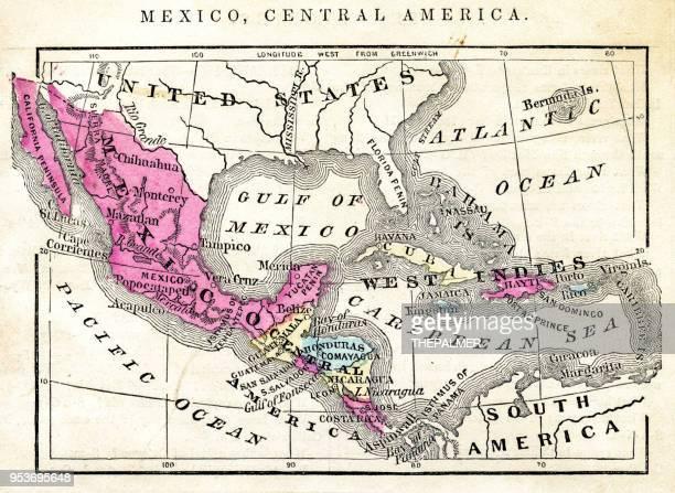 ilustraciones, imágenes clip art, dibujos animados e iconos de stock de mapa de méxico y centroamérica 1871 - américa central