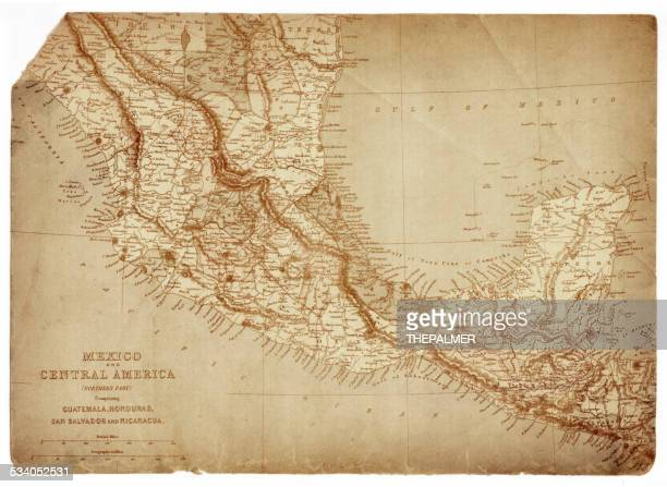 map of mexico and central america 1873 - guatemala stock illustrations, clip art, cartoons, & icons