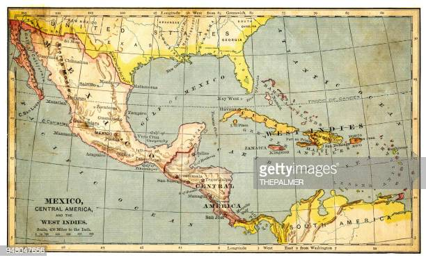 map of mexico and west indies 1883 - central america stock illustrations, clip art, cartoons, & icons