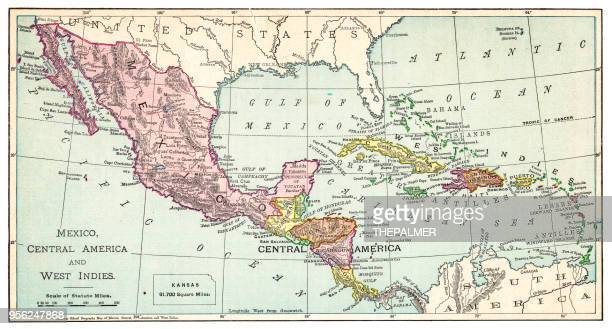 map of mexico and west indies 1895 - central america stock illustrations, clip art, cartoons, & icons