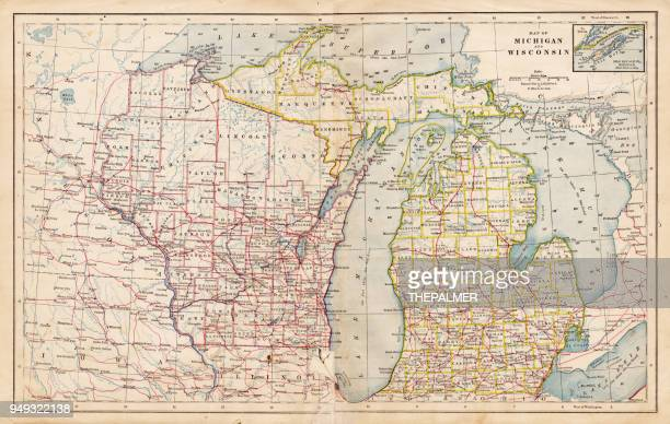 Map of Michigan and Wisconsin 1877