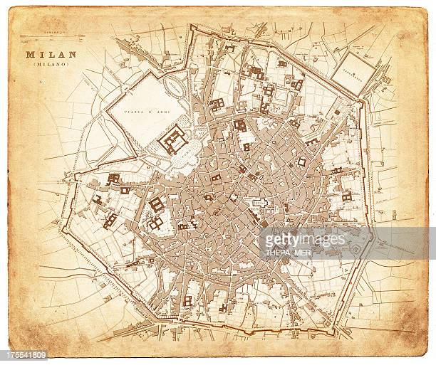 map of milan 1832 - milan stock illustrations, clip art, cartoons, & icons