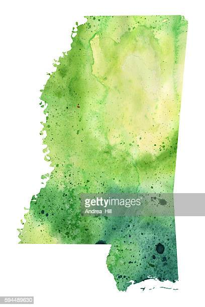 map of mississippi with watercolor texture - raster illustration - mississippi stock illustrations, clip art, cartoons, & icons