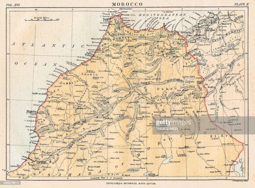 Map of Morocco 1883 : stock illustration
