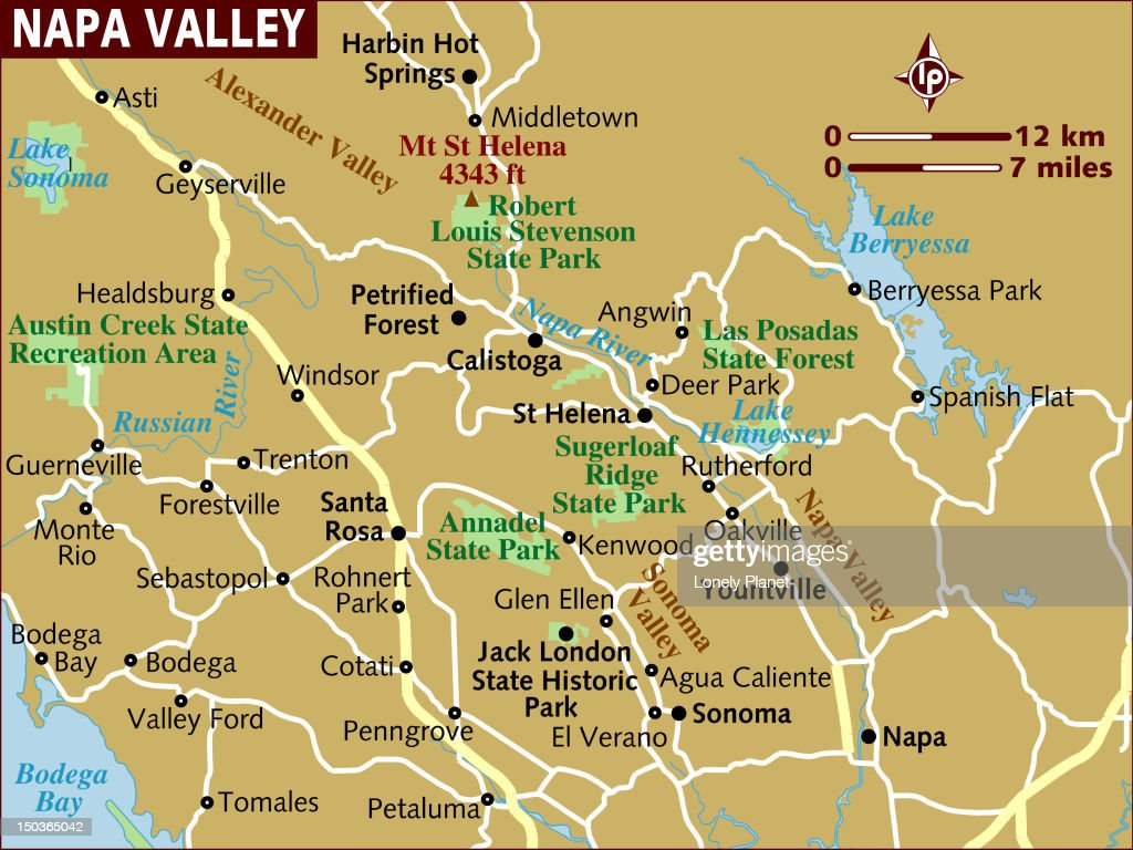 Map Of Napa Valley Stock Illustration Getty Images