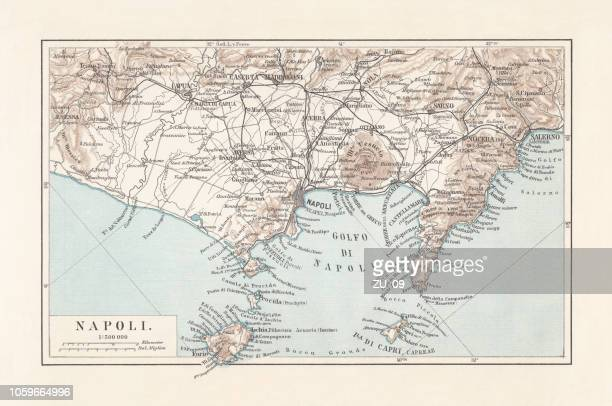 map of naples and surrounding, campania, italy, lithograph, published 1897 - mt vesuvius stock illustrations, clip art, cartoons, & icons