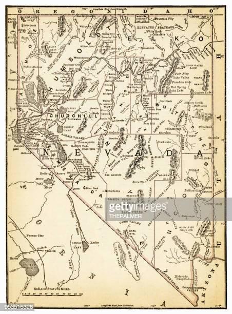map of nevada 1893 - nevada stock illustrations