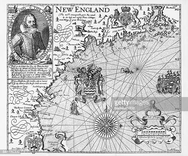 ilustraciones, imágenes clip art, dibujos animados e iconos de stock de map of new england by explorer john smith, circa 1624 - descubrimiento