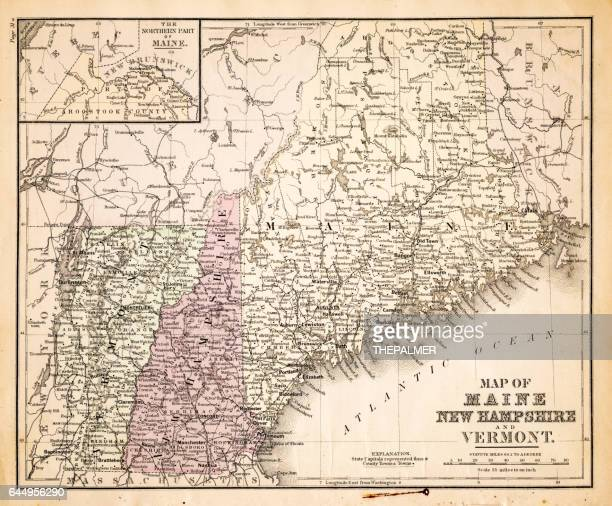 Map of New Hampshire USA 1883