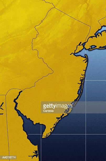 map of new jersey - delaware bay stock illustrations, clip art, cartoons, & icons