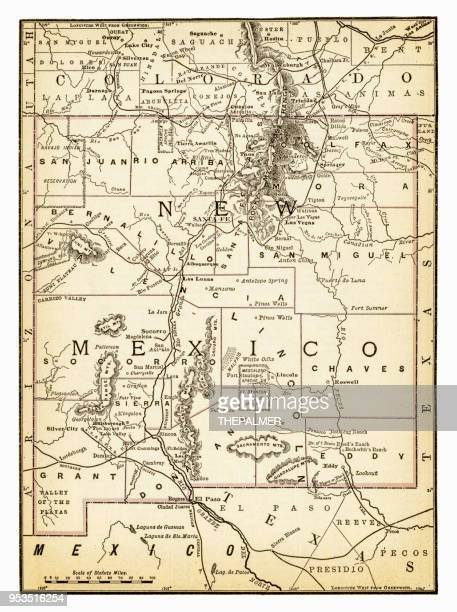 map of new mexico 1893 - new mexico stock illustrations