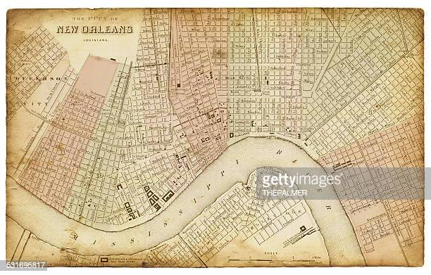 map of new orleans 1865 - new orleans stock illustrations, clip art, cartoons, & icons