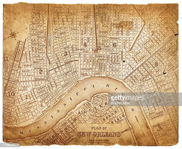 map of new orleans 1879 - new orleans stock illustrations, clip art, cartoons, & icons