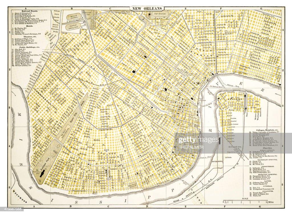 Carte De La Nouvelleorleans 1894 Illustration Getty Images