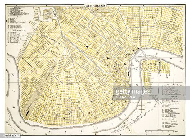 map of new orleans 1894 - new orleans stock illustrations, clip art, cartoons, & icons