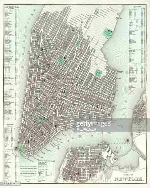 map of new york 1836 - brooklyn new york stock illustrations, clip art, cartoons, & icons