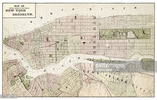 map of new york and brooklyn 1873 - brooklyn new york stock illustrations, clip art, cartoons, & icons