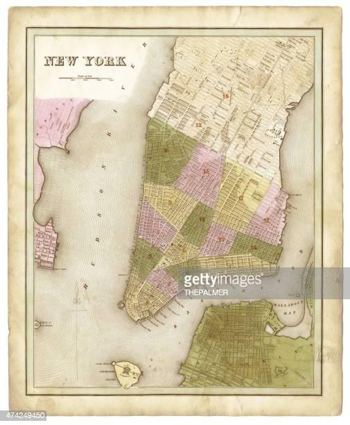 map of new york city 1838 - brooklyn new york stock illustrations, clip art, cartoons, & icons