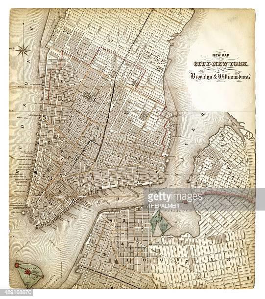 karte von new york city 1840 - brooklyn new york stock-grafiken, -clipart, -cartoons und -symbole