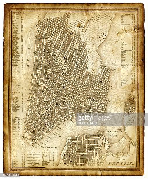map of new york city 1846 - brooklyn new york stock illustrations, clip art, cartoons, & icons