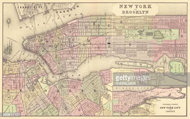 map of new york city 1886 - brooklyn new york stock illustrations