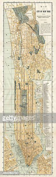 map of new york city 1894 - brooklyn new york stock illustrations, clip art, cartoons, & icons