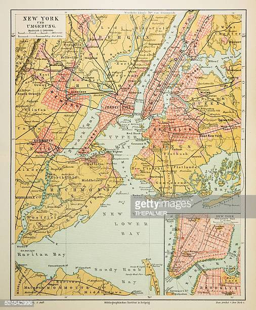 map of new york city 1895 - brooklyn new york stock illustrations, clip art, cartoons, & icons