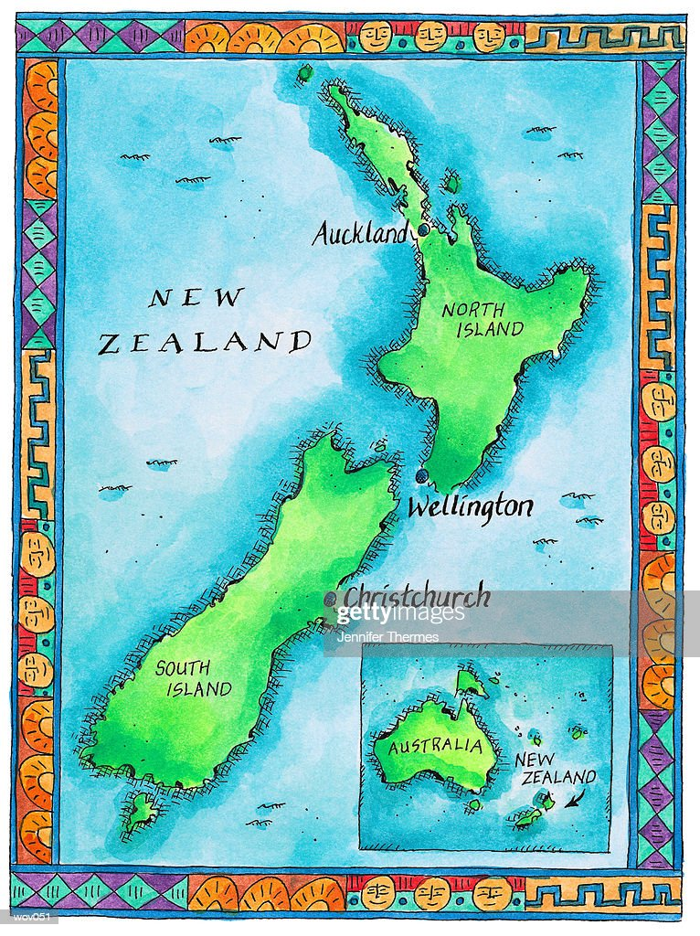 Map of New Zealand : Ilustración de stock