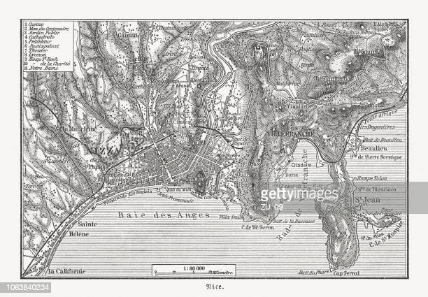 map of nice (france) and surroundings, wood engraving, published 1897 - nice france stock illustrations, clip art, cartoons, & icons