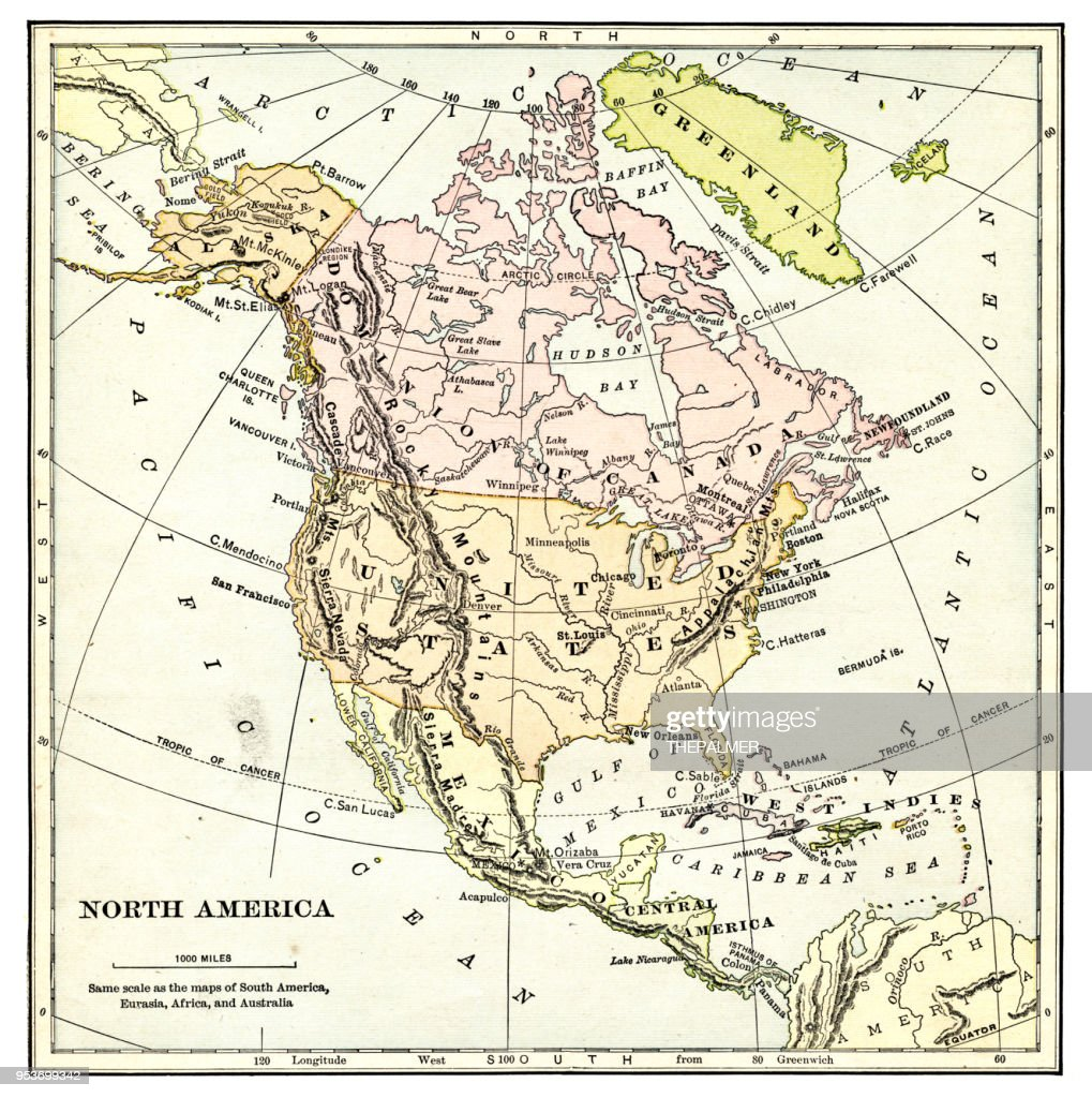 map of north america 1897 ストックイラストレーション getty images