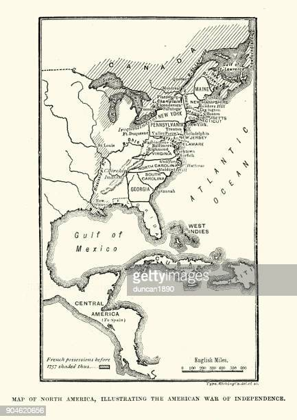 map of north america, illustrating the american war of independence - american revolution stock illustrations, clip art, cartoons, & icons