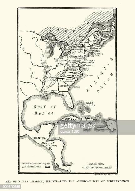 ilustraciones, imágenes clip art, dibujos animados e iconos de stock de mapa de américa del norte, ilustrando la guerra de independencia americana - american revolution