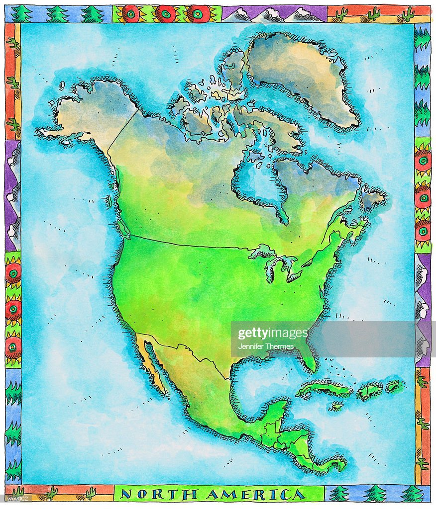 Map of North America : Stock Illustration
