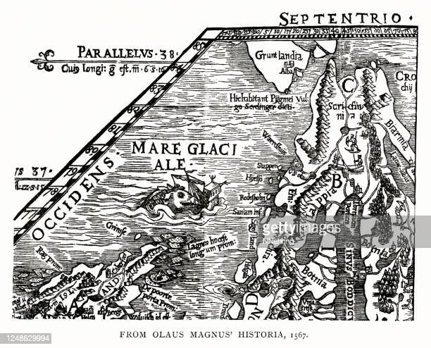 1567 map of north atlantic and scandinavia - fossil stock illustrations