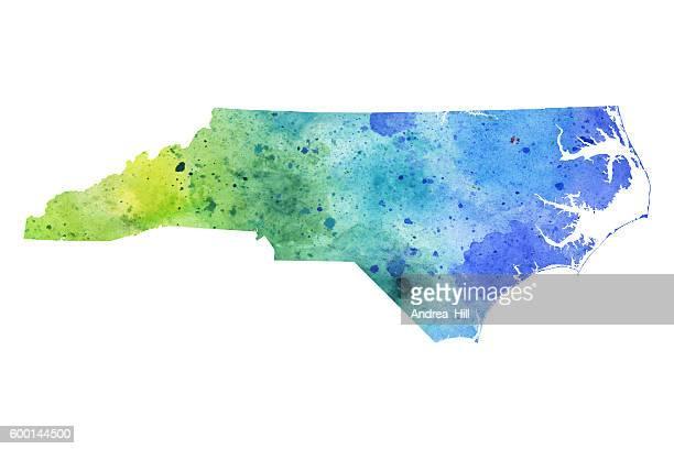 map of north carolina with watercolor texture - raster illustration - north carolina us state stock illustrations