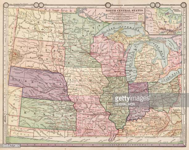 map of north central states1889 - south dakota stock illustrations, clip art, cartoons, & icons