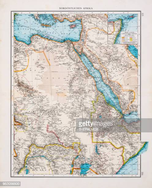 map of north east africa 1896 - nile river stock illustrations, clip art, cartoons, & icons