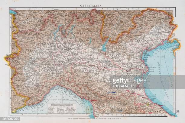 北イタリア 1896 の地図 - トレヴィーゾ市点のイラスト素材/クリップアート素材/マンガ素材/アイコン素材
