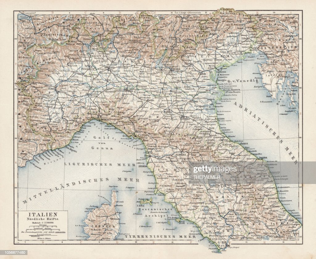 Map Of North Italy 1900 Stock Illustration Getty Images