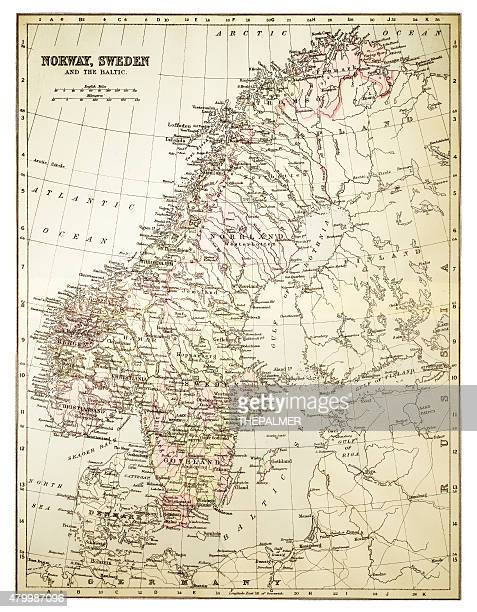 Map of Norway and Sweden 1894
