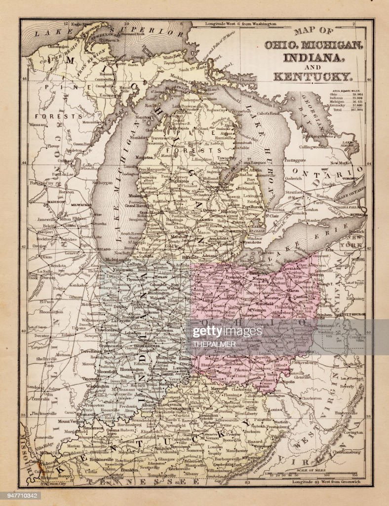 Michigan And Ohio Map.Map Of Ohio Michigan And Kentucky 1881 Stock Illustration Getty Images