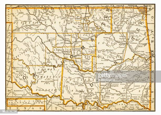 Map of Oklahoma and Indiana 1893